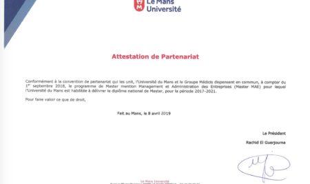 Partenariat Groupe Médicis – Université du Mans